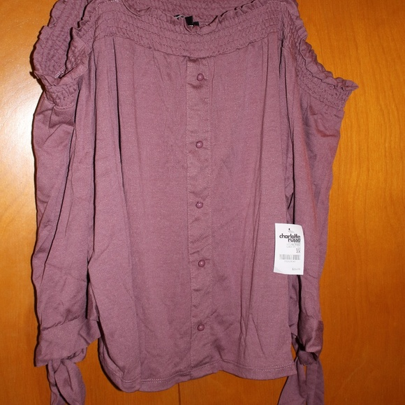 ee8db1493ed4bd NWT BEAUTIFUL CHARLOTTE RUSSE COLD SHOULDER TIE-SL